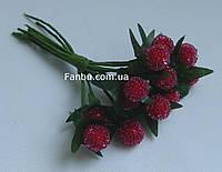 """Искусственные  ягоды ежевики""""стеклянные"""" для декора красные d=1 см (1 набор - 12шт)"""