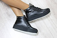 Зимние кожаные хайтопы на шнуровке цвет : черныйматериал: натуральная кожа внутри утеплитель: мех