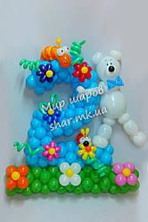Цветочная двойка с мишкой из воздушных шаров