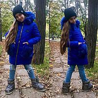 Детская Модная Зимняя куртка с меховыми карманами