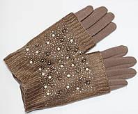 Перчатки женские трикотажные, цвета капучино, с сенсорными пальцами