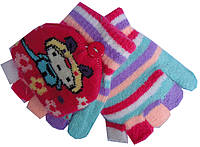 Перчатки-варежки детские на девочку А-17 полоска (зима)