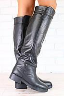Зимние женские сапоги-европейка, кожаные, низкий ход, черные, без замка, с ремешками