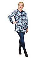 Стильная туника-рубашка размер плюс Луки голубые цветы (52-66)