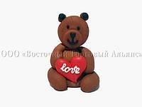 Фигурки из мастики  - Медвежонок с сердечком коричневый - Ø6,5 см, h9 см, фото 1