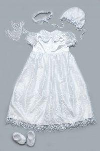 Комплект: крыжма и крестильное платье для девочки с гипюром белый, Модный карапуз