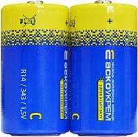 Батарейка сольова С.R. R14.S2 (2 в шрінці) (ціна за шринку/2 шт) АсКО
