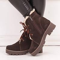 Женские зимние замшевые ботинки с подкладкой из шерсти с шнурками и молнией