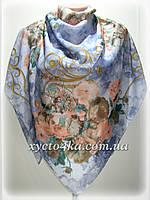 Большой платок на натуральной основе Династия, голубой