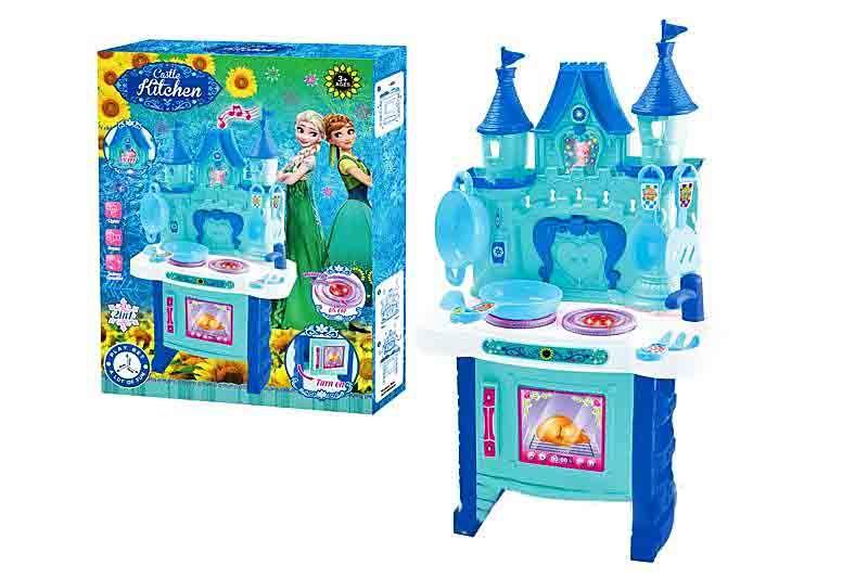 Детская кухня Фроузен Frozen (Холодное сердце)музыкальная с подсветкой и посудой на батарейках 018-35