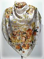 Большой платок на натуральной основе Династия, капучино -терракот