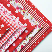Набор тканей (Ткань) красных оттенков для Пэчворка 30x30 см 7 шт