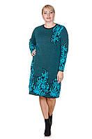 Вязаное платье большого размера Madrid черный/бирюза (48-58) 52-54