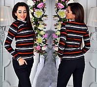 """Женский тёплый свитер-гольф до больших размеров 147 """"Ангора Полоска Люрекс"""" в расцветках"""