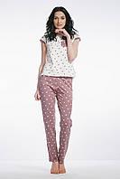 Женская пижама с брюками мокко/горохи.