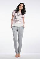 Пижама хлопковая со штанами розово/серая