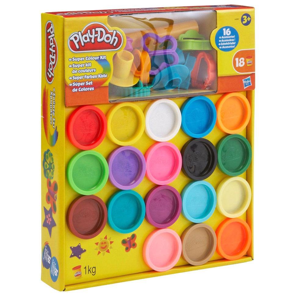 "Play-Doh  Super color kit Набор пластилина 18 банок и 16 аксессуаров ""Суперцвета"" (Суперкольори)"
