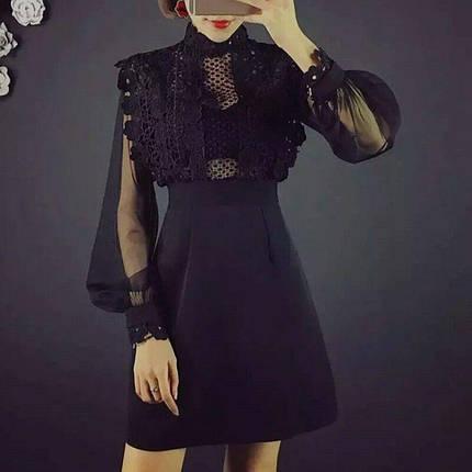Платье женское  с гипюровым верхом, фото 2