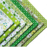 Набор тканей (Ткань) зеленых оттенков для Пэчворка 30x30 см 7 шт