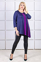 Красивая туника большой размер Лукреция фиолетовая вставка (52-66)
