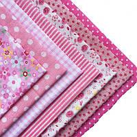 Набор тканей (Ткань) розовых оттенков для Пэчворка 30x30 см 7 шт