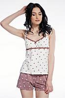 Женская пижама с шортами в горох