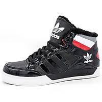 Утепленные мужские кроссовки Adidas (Адидас) с мехом G21398 черные - Реплика р.(41, 42, 43)