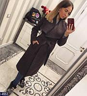Высококачественное женское шерстяное пальто с поясом цвета шоколад.  Арт - 18344