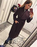Высококачественное женское шерстяное пальто с поясом темно-фиолетового цвета.  Арт - 18344