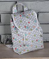 """Летний маленький рюкзак """"Звезды"""" для детей из текстиля (р. 25х25х8 см) ТМ MagBaby 101202"""