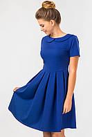 Синее платье с круглым воротником