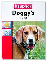 Beaphar (Беафар)  Витаминизированное лакомство Doggy's + Liver со вкусом печени для собак, 75 табл.
