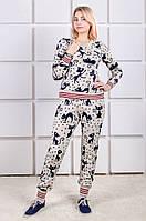 Вязаный спортивный костюм полушерсть Кошки  беж (42-46)