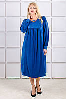 Красивое платье большой размер Парижанка электрик (60-66)