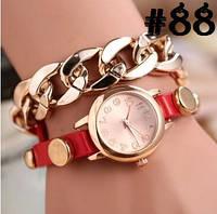 Женские часы с красным ремешком и цепочкой (88)