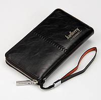 Мужской Кошелек (Портмоне, клатч) Baellery Leather SW008 (черный, коричневый)