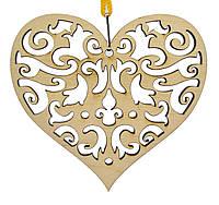 Деревянная новогодняя игрушка заготовка. Сердце с узором
