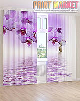 Фото шторы фиолетовая вода и орхидея