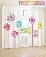 Фото шторы 3д рисунок цветов