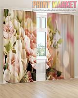 Фото шторы бежево-розовые цветы 3d