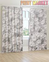 Фото шторы бело-серые цветы