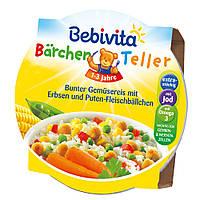 Bebivita  Bärchen Teller Menü Bunter Gemüsereis... - Фрикадельки с индейки и рис с горохом от 12 месяцев 250 г