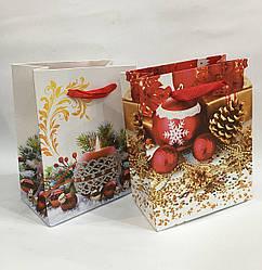 Новогодний пакет подарочный (12 шт упаковка) ассорти средний