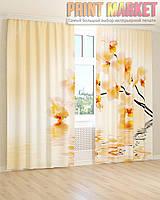 Фото шторы желто-белая орхидея
