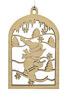 Деревянная новогодняя игрушка заготовка. Снеговик на лыжах