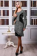 Серо-черное платье со вставками из кожи