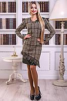 Теплое практичное платье черно-коричневого цвета