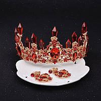Набор корона, диадема, тиара, серьги, под золото с красными камнями, высота 7 см.