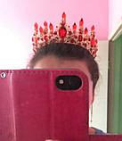 Набор корона, диадема, тиара, серьги под серебро с фиолетовыми камнями, высота 7 см., фото 4