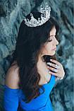 Набор корона, диадема, тиара, серьги под серебро с фиолетовыми камнями, высота 7 см., фото 6